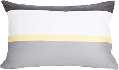 """kensie Set of Two White Gray and Yellow Pillowcase Sham Covers Stripe Design 100% Cotton (Standard 20"""" x 26"""")"""