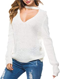 Women's Knit Choker Neck Tops Fall Long Sleeve Loose Pullover Sweater Blouse