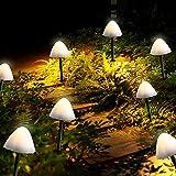 Outdoor Solar Garden Lights, Set of 12 Mini Solar Mushroom Light Outdoor Waterproof Cute Mushroom Shaped Pathway Landscape Lights for Yard Patio Garden Party Wedding Festival Decoration (Warm White)