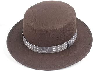 HongJie Hou 2019 Authentic Flat Top Fedora Hat For Men Women Trilby Hat Wide Brim Church Hat Jazz Fascinator Hat Size 56-58CM