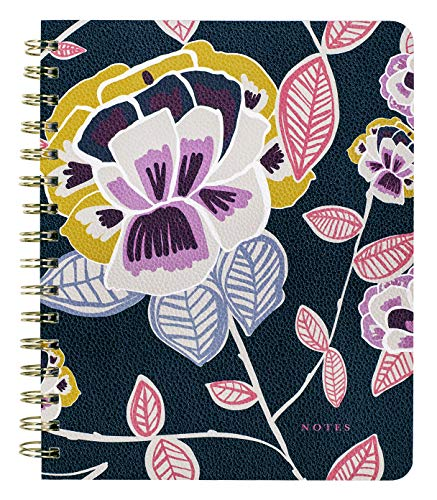 Mini Spiral Notebook with Cute Durable Vegan Leather Cover, Writing Journal Includes 160 Lined Pages for Women Teen Girls, Navy Floral