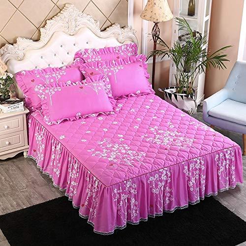 treseds 3 x Heimtextil-Tagesdecke, verdickte Polyester-Baumwolle, Bettüberwurf mit Blumen, bedruckt für Queen-Size-Bett, mit Kissenbezug (Farbe: 21, Größe: 180 x 200 cm)