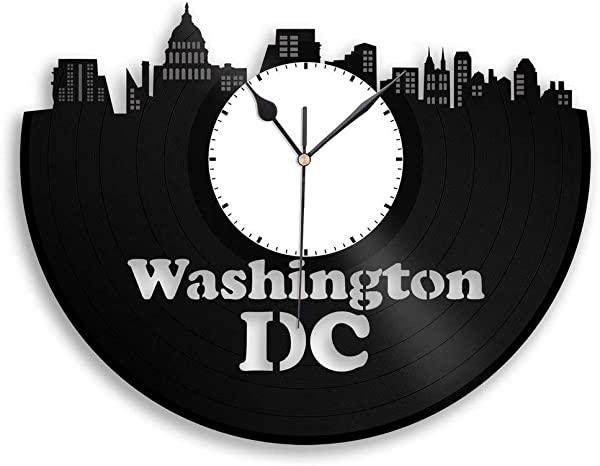 VinylShopUS Washington DC Vinyl Wall Clock City Skyline Souvenir Unique Gift Home And Office Room Decoration