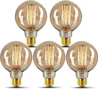 Bombilla Edison vintage, E27, 40 W, G95, bombilla LED vintage, bombilla antigua, blanco cálido, filamento decorativo LED, bombilla ideal para iluminación nostálgica y retro, no regulable, 5 unidades