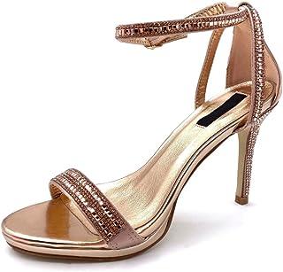 c4790b6b3a40cb Angkorly - Scarpe Moda Decollete con Tacco Sandali Sexy Stiletto Aperto  Donna Tanga Strass Tacco Stiletto