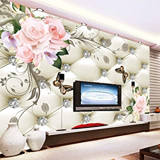 Shujuan Papel Tapiz,Custom 3D Mural Wallpaper European Style Rose Flower Pattern Diamonds Wall Painting Living Room Tv Background Leather Wallpaper,200140Cm