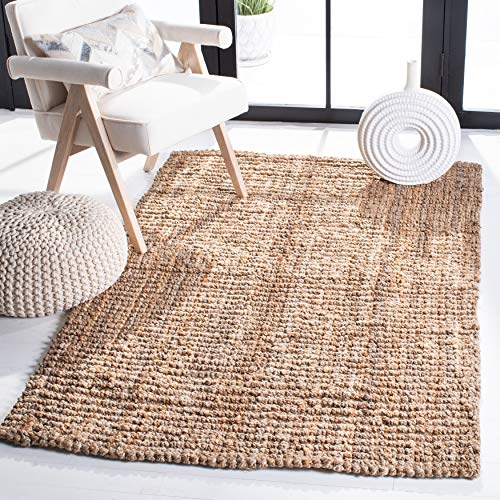 Safavieh Natural Fiber Collection NF447A Handmade Chunky Textured Premium Jute 0.75-inch Thick Area Rug, 3' x 5', Natural