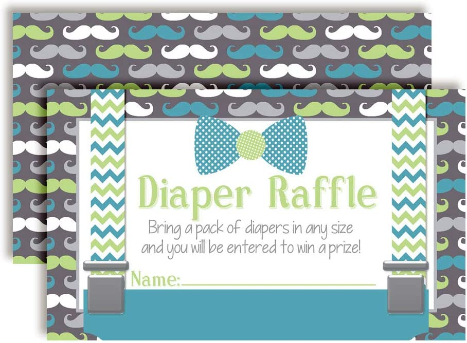 Little Man Bow Tie, Mustache, & Suspenders Themed Diaper Raffle Tickets for Boy Baby Showers, 20 2
