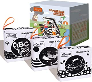 3 Black And White Books for Newborn 0-12 Months, High Contrast Black and White Interactive Crinkle Soft Book for Infant, Baby Early Education for Brain Development Cloth Book Numbers, Letters, Shapes