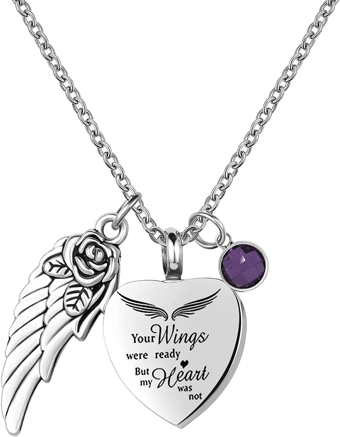 TCHYUN Sale Cheap Urn Necklaces Ashes Heart Angel Wing Brother Nana Grandma Dad Mom Aunt Daughter Grandpa Husband Papa Sister Son Wife Dog Uncle Cremation Memorial Pendant Keepsake Stainless Steel