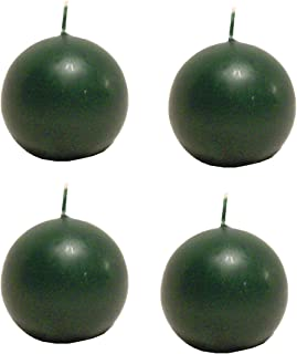 Biedermann & Sons Round-Shaped 2-3/8-Inch Diameter Ball Candles, Set of 4, Pine Green