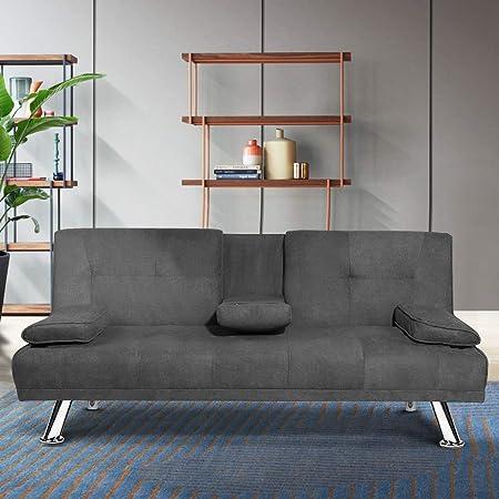 Lttromat Sofá Futón Plegable Moderno Con Patas De Metal Y 2 Portavasos Que Se Convierte Rápidamente En Una Cama Para Espacios Pequeños Color Gris Furniture Decor