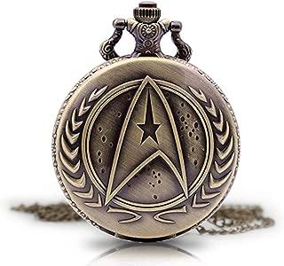 Vintage Star Trek Quartz Pocket Watch Pocket Watch with Chain, Pendant Necklace for Men Kids Boys Xmas Fathers Day Birthday Gift
