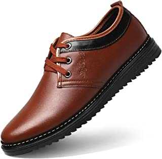 Yajie-shoes store, Men's Formal Business Shoes Matte PU Leather Upper Lace Up Breathable Lined Oxfords(Warm Optional) (Color : Brown, Size : 6 UK)