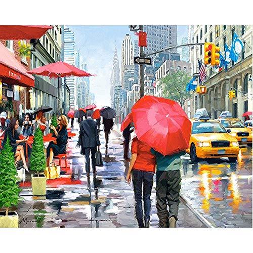 wwdfdd 5D-diamantschilderij, complete set met paraplu, voetgangerscherm om zelf te maken, kruissteek, strasssteen, kunsthars, rond, voorgedrukte mozaïekset, thuisdecoratie (40x50cm)