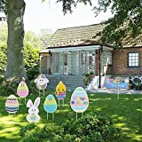 KISSTAKER Easter Yard Signs Outdoor Lawn Decorations, 8 Packs Outdoor Bunny Eggs and Chick Yard Stake Signs,Happy Easter Yard Signs with Stakes,Funny Bunny and Egg Corrugated Yard Signs