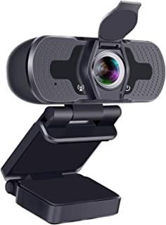 Webcam,1080P Webcam with Microphone HD 110-Degree View Angle,Noise Cancelling Webcam with Privacy Cover,USB PC Webcam Plug...