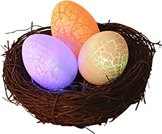 Explopur Colorful Easter Egg Shape Night Light with Rattan Nest Battery Operated Fairy Lights LED Lights for Bedroom Party...