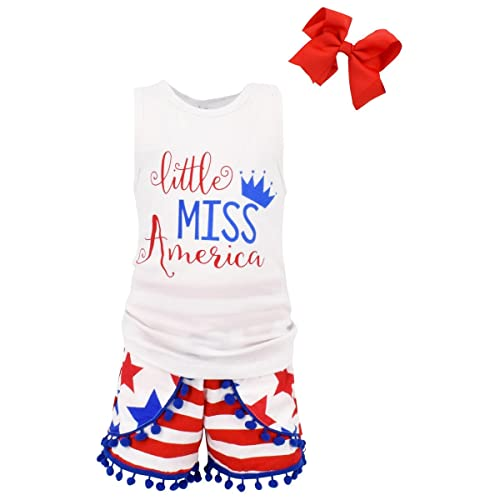 4e93f1e97 Unique Baby Girls Little Miss America 3 Piece 4th of July Outfit