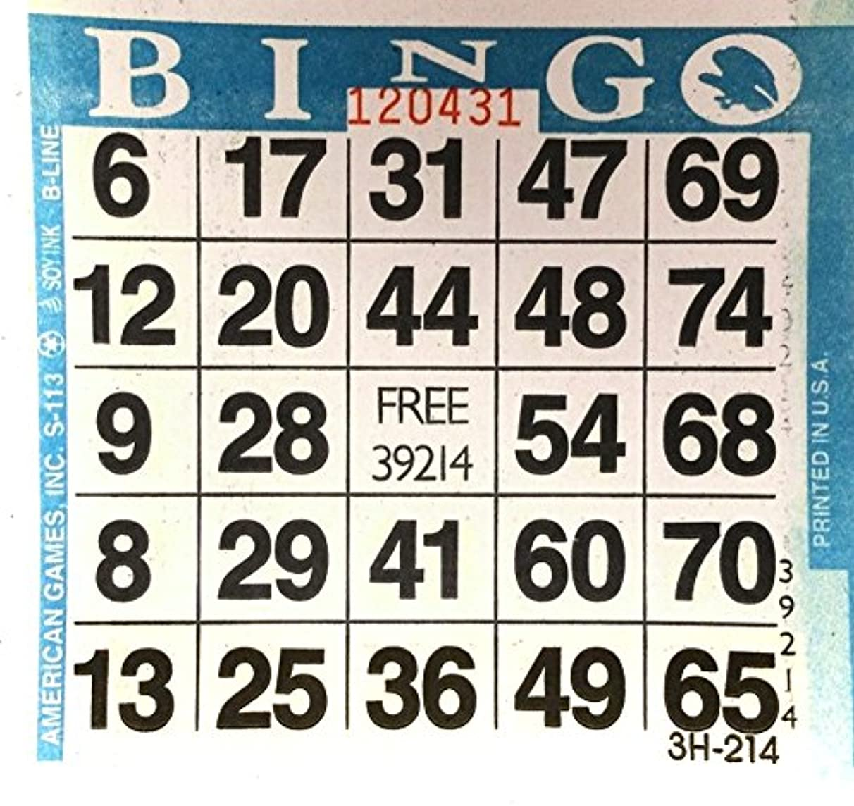 American Games 1 on Blue Bingo Paper Card Sheets (500 Sheets Per Pack)