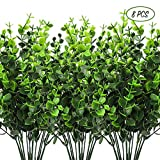 CEWOR 8pcs Artificial Greenery Plants Fake Plastic Boxwood Shrubs Stems for Home Wedding Courtyard Indoor and Outdoor Decoration