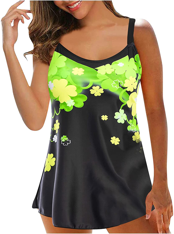 Wocachi Plus Size Bathing Suits for Women Tie Dye Two Piece Halter Scoop Neck Swimdress Sexy Summer Tankini Suit