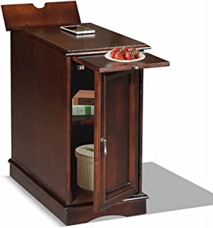Premium 3550 Chairside End Table with USB and Power Outlet Charging Ports and Tray in Espresso Finish