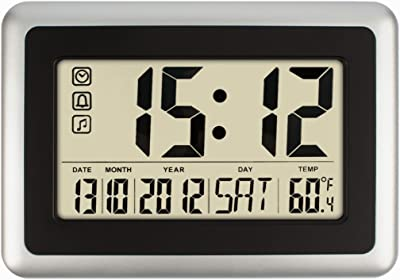 HIPPIH Electronic Alarm Clock - Full Digital Calendar Wall Clocks, Day Clock with Extra Large