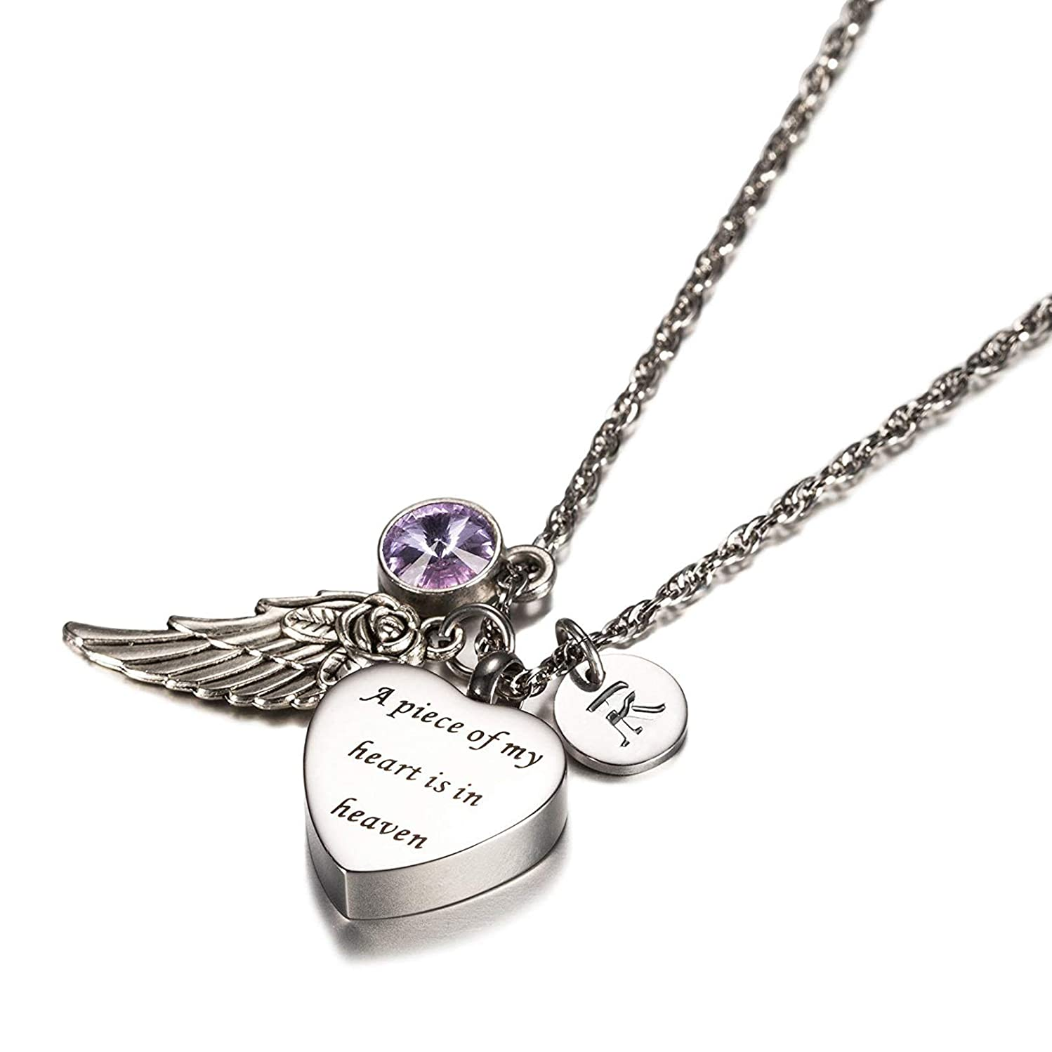 KnSam Jewelry A Piece of My Heart in Heaven Stainless Steel Heart Urn Necklace with Angel Wing, 26 Letters & 12 Birthstones Ashes Pendant Memorial Necklace
