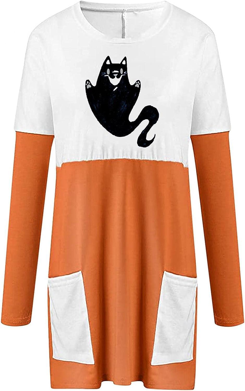 Womens Halloween Shirts Long Sleeve, Women's Halloween Pumpkin Faces Printed Sweatshirts Casual Trendy Pullover Shirts