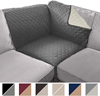 Sofa Shield Original Patent Pending Sectional Corner, 30 x 30 Inch Slipcover, 2 Inch Strap Hook, Washable Furniture Protector, Slip Cover for Cats, Kids Pets, Sectional Corner, Charcoal Linen