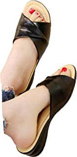 Fainosmny Summer Women Slippers Retro Flat Bottomed Sandals Wedges Non-Slip Open-Toe Shoes Plus Size Mom Beach Shoes