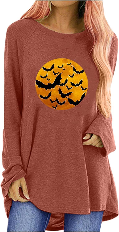 TIANMING Women Casual Loose Pullover Halloween Pumpkin Skeleton