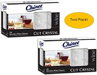 Wine Glasses – Chinet Plastic – Stemless – Cut Crystal – 2 Sets of 24, 48 Total. Great for Picnics, Camping, Birthdays, Cabernet, Ports, Reds & Whites.