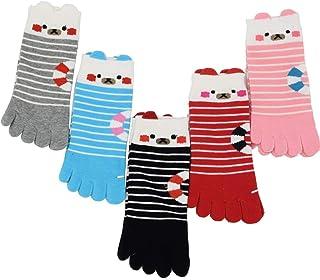 Sandy ting「5足セット」レディース 五本指靴下 くるぶしソックス 5本指 綿 クマ柄 キャラクター 春秋 冷え取り 暖かい 21-24CM