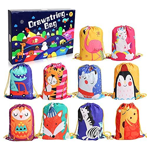 kramow 10Pack Bolsas de Cuerdas para Infantil,Mochila con Cordón Niños Bolsas Regalo Cumpleaños Deporte Gimnasio Backpack para Niños Niñas Fiesta de Cumpleaños Regalos