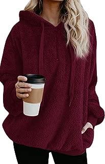 Womens Sherpa Loose Hoodies Zip Winter Slouchy Warm Fleece Sweatshirts Outwear Pockets