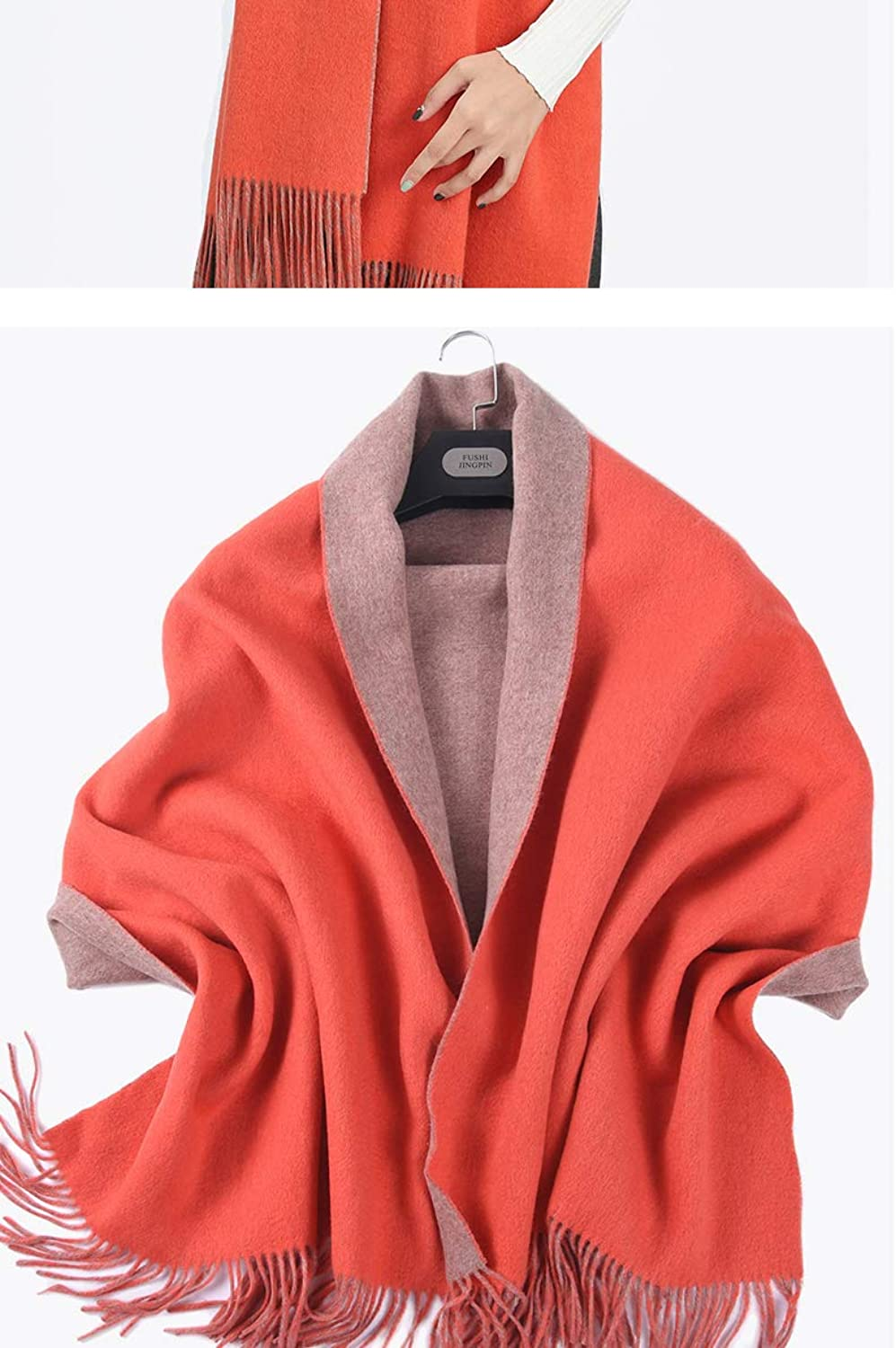 JINGB Home Increase Thicker Shawl Scarf Female Solid color Autumn and Winter Dualuse 400 Grams Long Warm DoubleSided (color   orange)