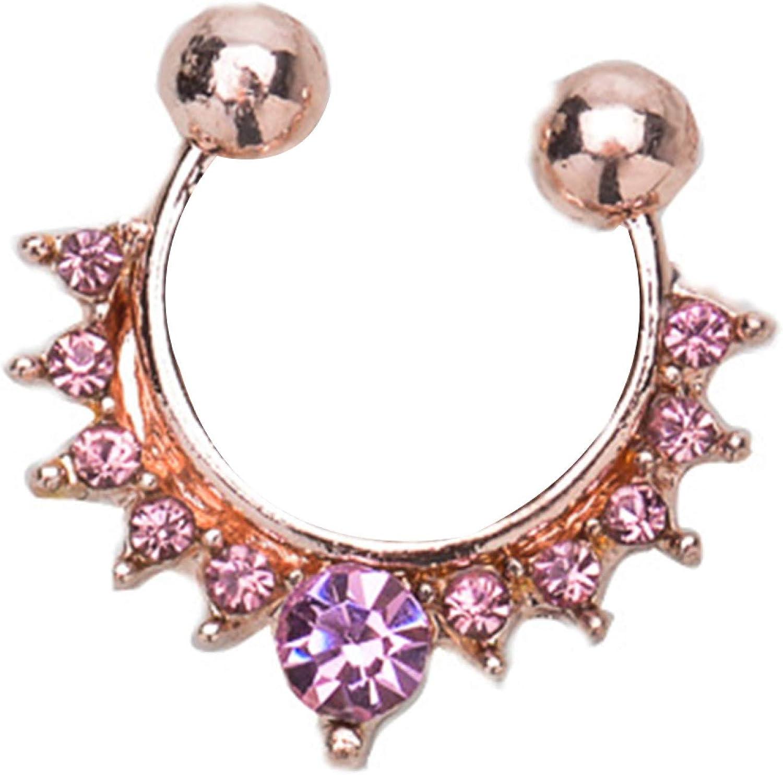 erDouckan Fashion Creative Body Piercing Jewelry for Women Men Fashion Women Rhinestone Inlaid Nose Ring Clip Hoop Piercing Body Jewelries