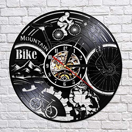 LIMN Reloj Regalo Ciclismo Montar Bicicleta Grabado con láser Vinilo LP Reloj de Pared Reloj Creativo 3D Biker Shadow Arte de la Pared Decoración Regalo para Amantes del Ciclismo