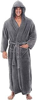 Mens Dressing Gown with Hood Long Bathrobe Men Pajamas Housecoat Winter Sleepwear Home Loungewear
