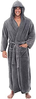 Topassion Mens Winter Plush Shawl Dressing Gown Full Long Hooded Robes Plush Shawl Bathrobe Nightwear Spa Robe for Winter Lengthened Shawl Home Clothes Long Sleeved Robe Coat