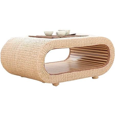Ensembles de tables et chaises Table D'étude Table Basse Pliante Table Basse en Rotin Table Baie Vitrée Table Tatami en Bois Massif (Color : Beige, Size : 60 * 45 * 35CM)