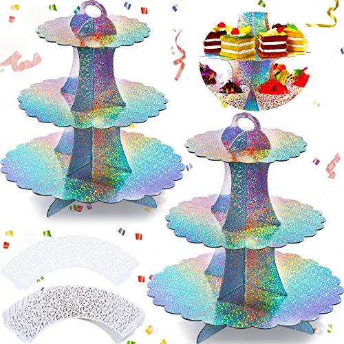 2 Pieces 3Tier Round Cupcake Stand Rainbow Cardboard Cupcake Stands with 10 Pieces Cupcake Wrappers Mini Dessert Tower Pastry Display Stand Set for Baby Shower Wedding Birthday Party