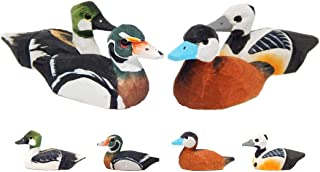 Small Wooden Duck Figurines - Hand-Made, Miniature Decoy, Carved Animals, Bird Decoration