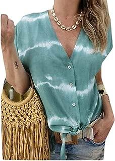 Loyomobak Women Short-Sleeve Printed V Neck Button Down Plus Size Blouse Top T-Shirt