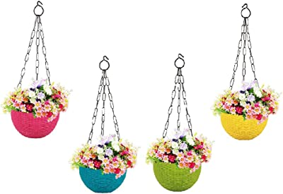 MUCH-MORE® Plastic Plant Pot with Hanging Chain | Flower Hanging Pot for Home Gardening (Multi HD-20)