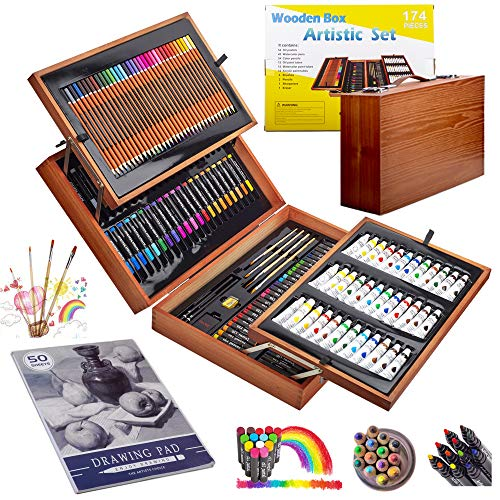 KINSPORY 174 PCS Deluxe Coloring Art Set Painting & Drawing Supplies Kit, Watercolour Pens, Oil Pastels, Crayons, Colour Pencils, Paint Tubes, Sketch Book, Brushs with Portable Wooden Art Case