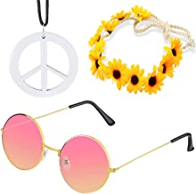Beelittle Women Hippie Costume Set - 60's 70s Style Retro Vintage Glasses Peace Sign Necklace Sunflower Crown Hair Band