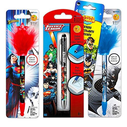 DC Comics Batman and Superman Pen Super Set -- 3 Deluxe Superhero Pens with Bookmark (Batman and Superman Office Supplies, School Supplies)